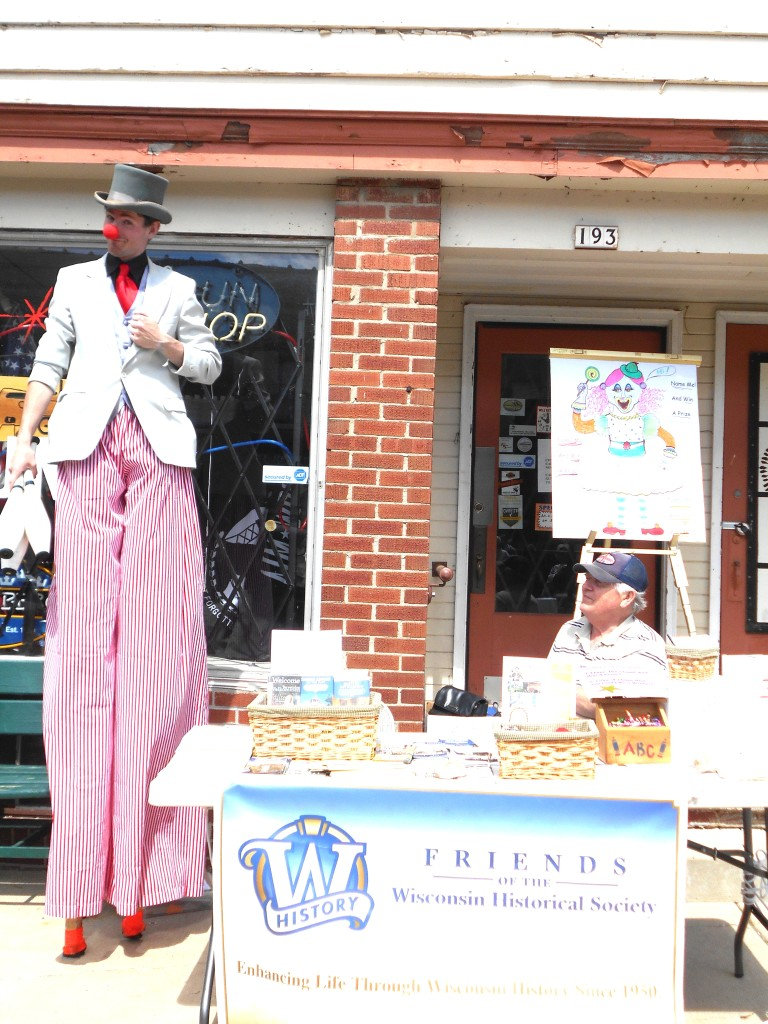 The tallest clown to visit our booth--more than 7 feet tall!
