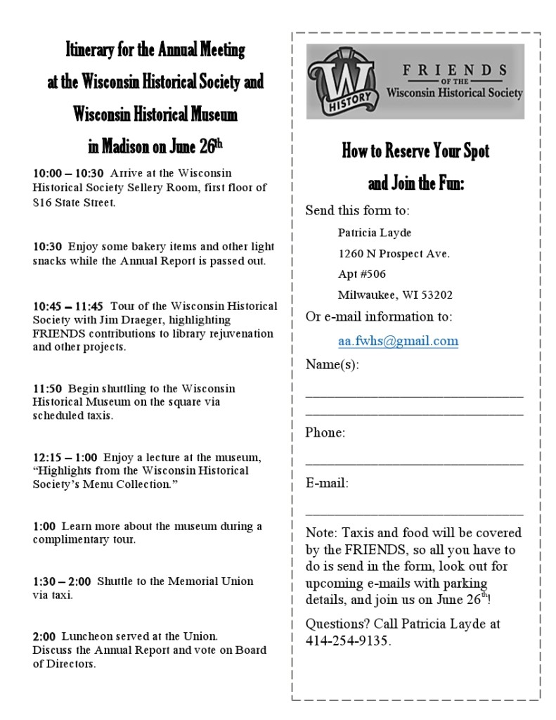 Annual Meeting 2018 Itinerary and Form