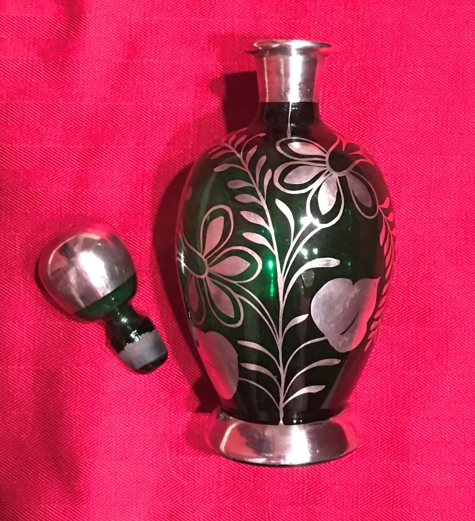 2020 Auction - McArdle, Green Glass Decanter w Silver Overlay